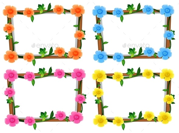 Four Design of Frames with Flowers - Borders Decorative