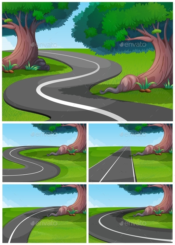 Five Scenes of Road in The Park - Landscapes Nature