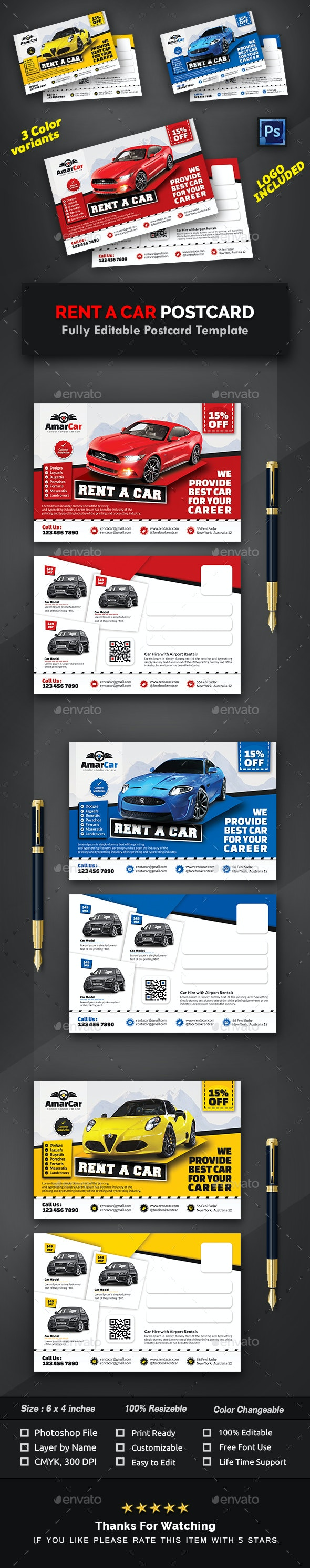 Rent a Car Postcard Template - Cards & Invites Print Templates