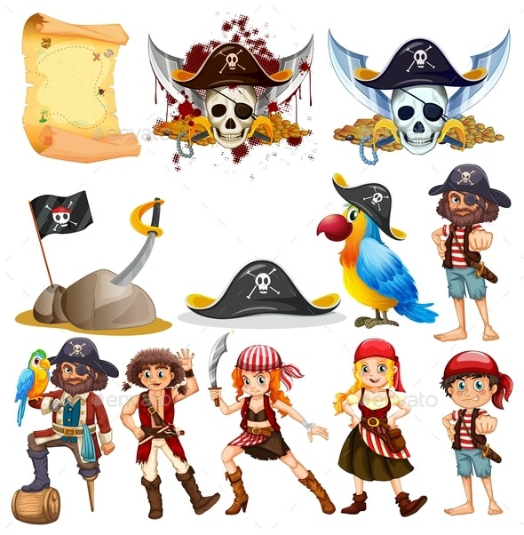 Different Pirate Characters and Pirate Symbols - People Characters