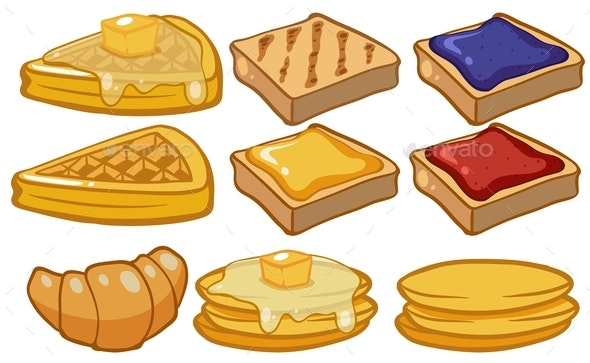 Different Types of Bread For Breakfast - Food Objects