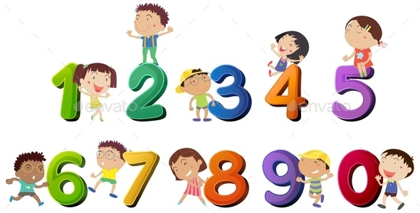 Happy Children Counting Numbers - People Characters