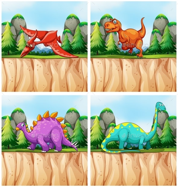 Scenes With Many Dinosaurs - Animals Characters