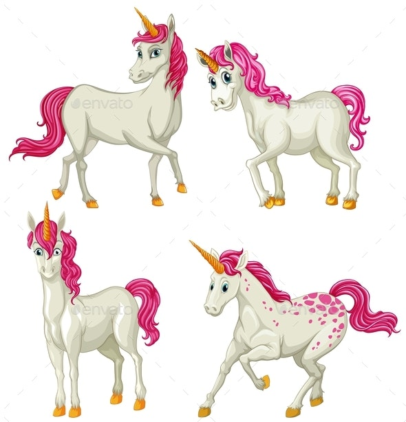 White Unicorn in Four Actions - Animals Characters