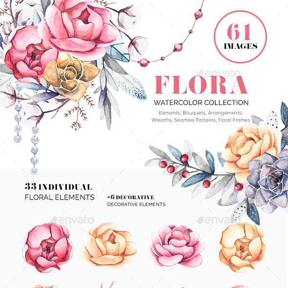Flora. Watercolor Flowers. Frames & Wreaths