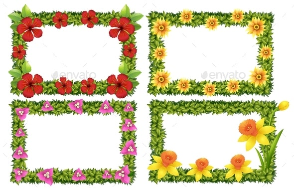 Frame Template With Colorful Flowers - Borders Decorative