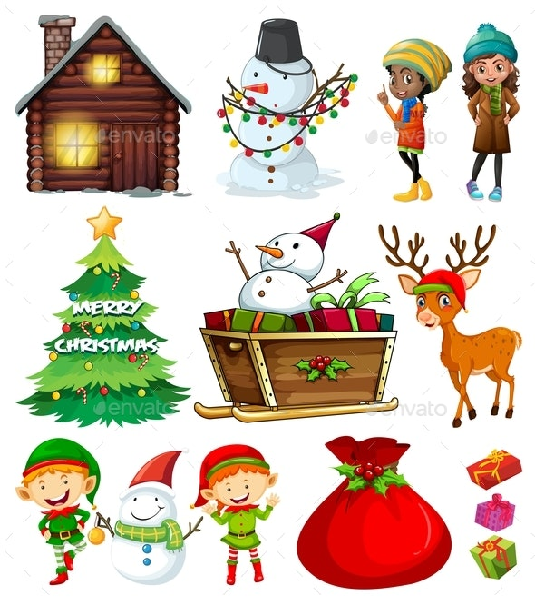 Christmas Elements With Tree And Many Characters - Characters Vectors