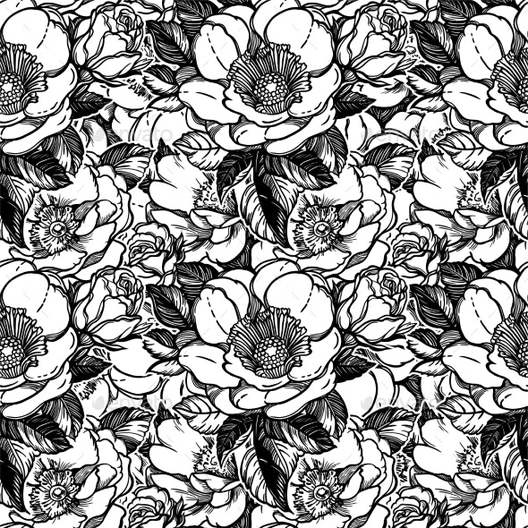 Vector Seamless Pattern with Peony Flowers. - Nature Conceptual