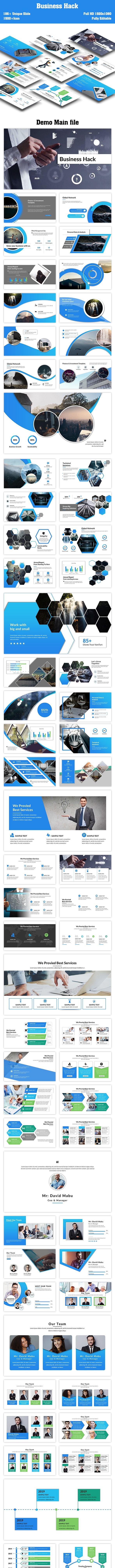 Business Hack PowerPoint Template - Creative PowerPoint Templates