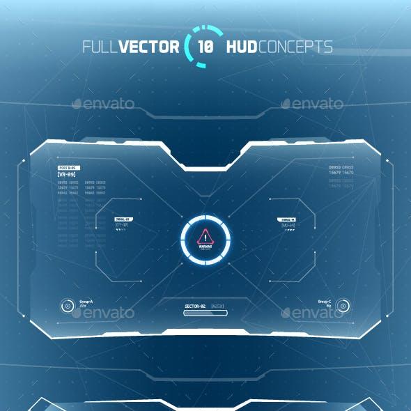Conceptual 10 Futuristic Hi-Tech HUD Set