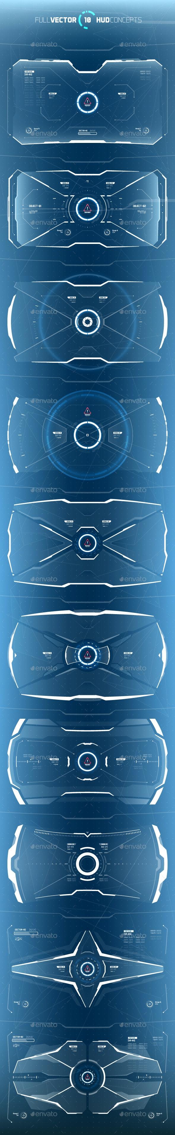Conceptual 10 Futuristic Hi-Tech HUD Set - Vectors