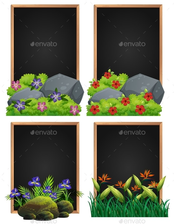 Frame Design With Rock And Flowers - Flowers & Plants Nature