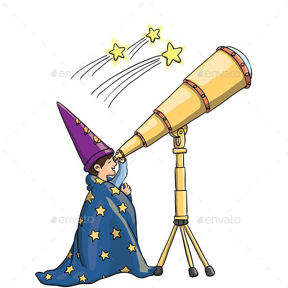 Young Boy Gazing at Falling Stars Through Telescope, in Astrologist Hat