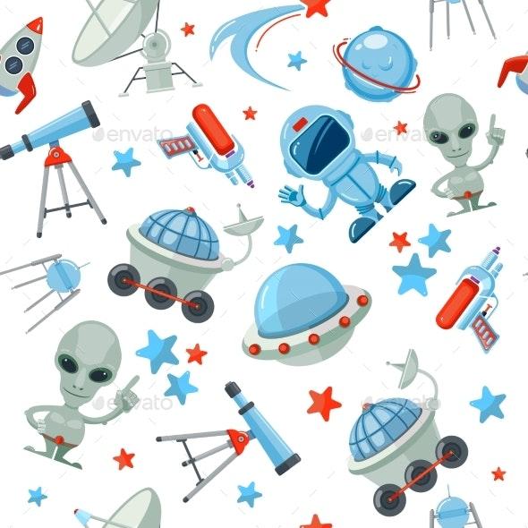 Space Seamless Pattern. Astronaut Alien UFO Ship - Technology Conceptual