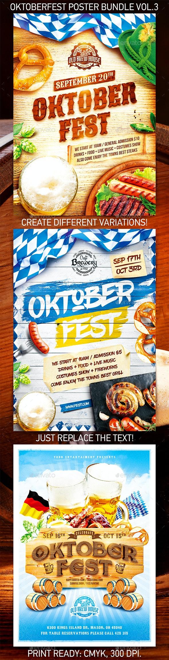 Oktoberfest Festival Poster Bundle vol.3 - Holidays Events