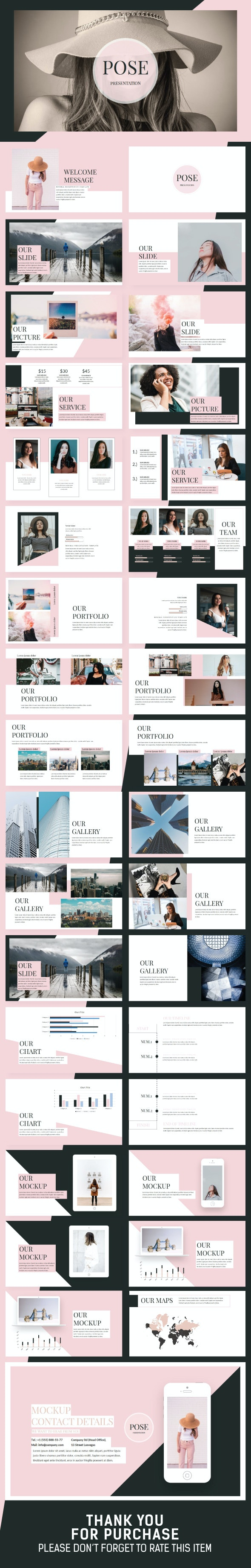 Pose Minimal Keynote Template - Creative Keynote Templates