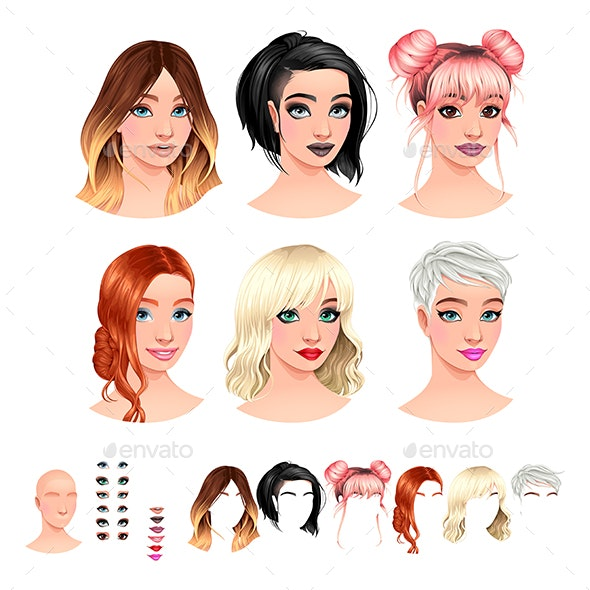 Fashion Female Avatars - Characters Vectors