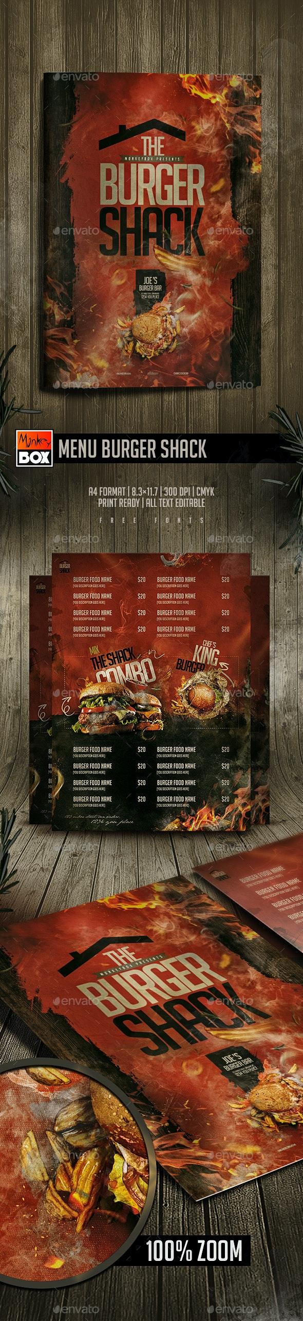 Menu Burger Shack - Food Menus Print Templates