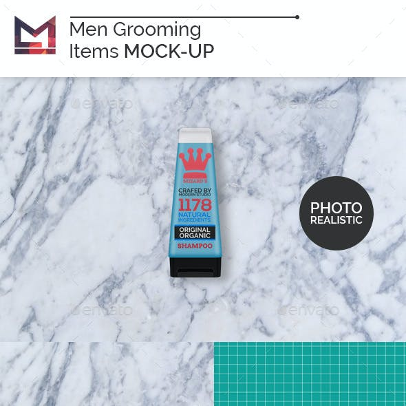 Men Grooming Items Mock-Up