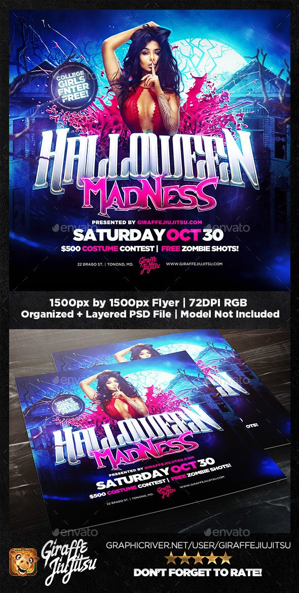 Halloween Madness Square Flyer Template - Flyers Print