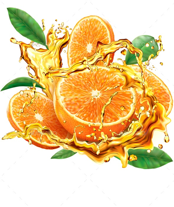 Orange into of Splashes Juices - Food Objects