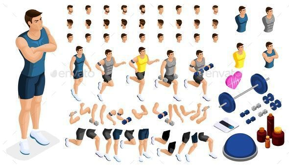 Isometrics Create Your Sporty Inflated Man - People Characters