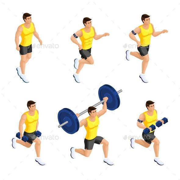 Isometric Male Athlete During Training in the Gym - People Characters