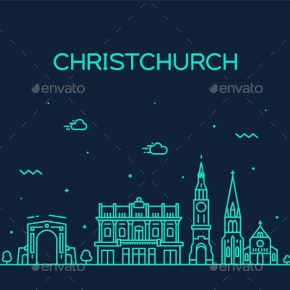 Christchurch City Skyline, New Zealand Vector Line