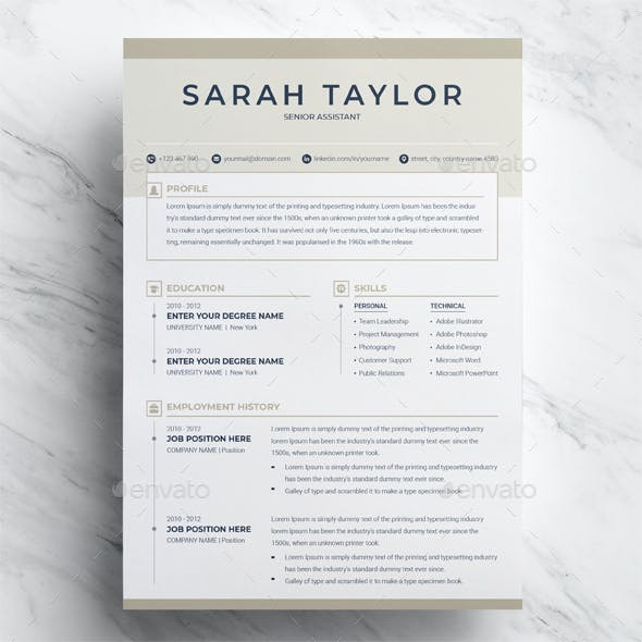 Resume Template 3 Page + CV Template