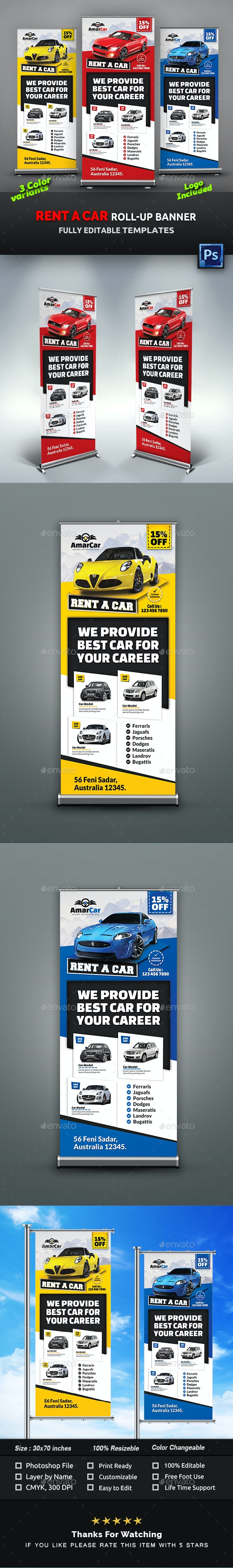 Rent a Car Roll-Up Banner Templates - Signage Print Templates