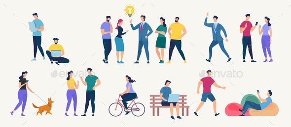 Social Network and Teamwork Vector Concept. - People Characters