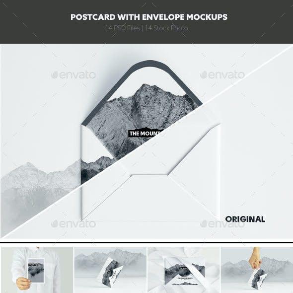 Postcard With Envelope Mockups V.1