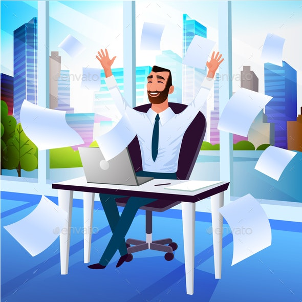 Happy Businessman Enjoying Success Cartoon Vector - People Characters