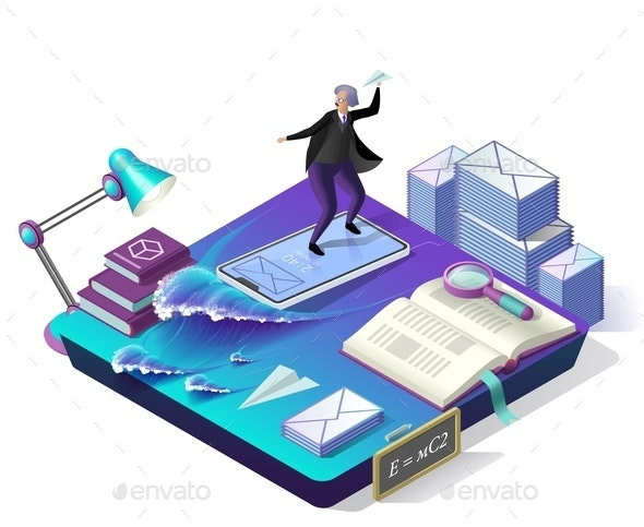 Sending Messages. Vector Isometric Illustration. - People Characters