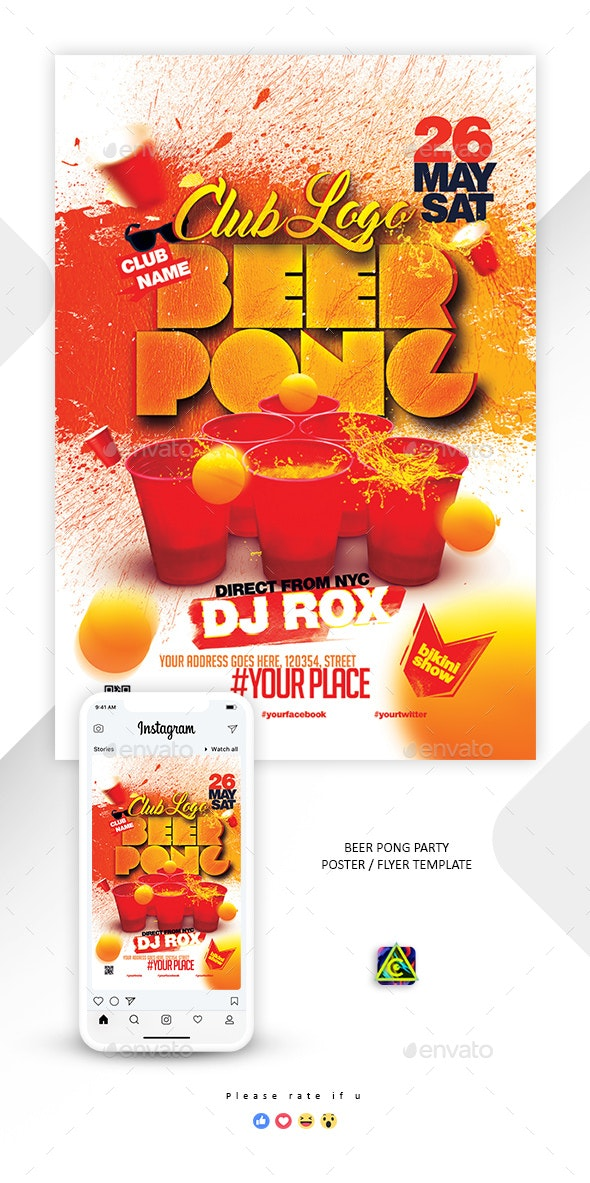 Beer Pong Party Poster / Flyer - Clubs & Parties Events