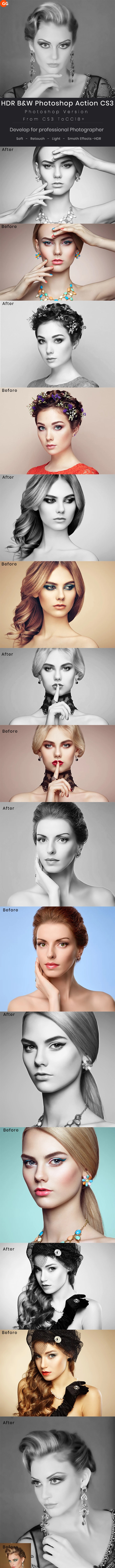 HDR B&W Photoshop Action - Photo Effects Actions
