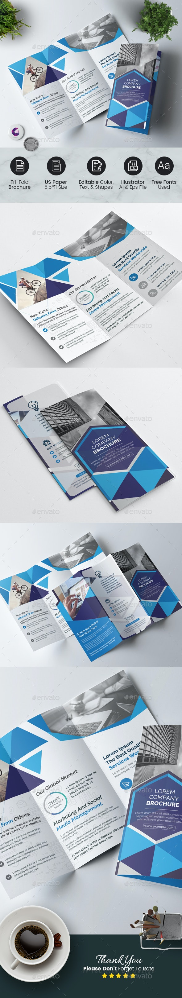 Geometric Tri-Fold Brochure - Corporate Brochures