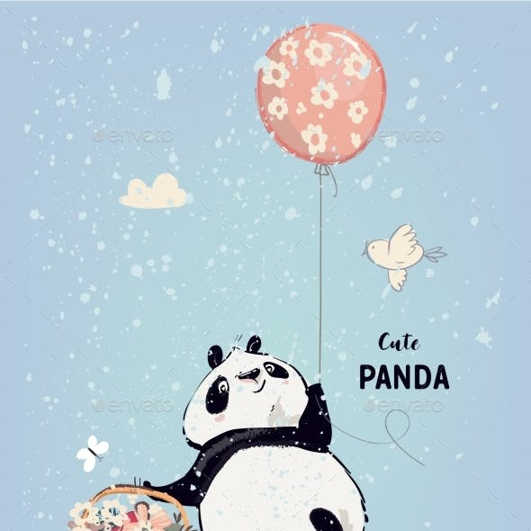 Little Panda with Balloon
