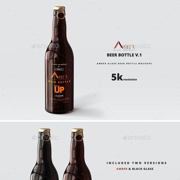Amber Glass Beer Bottle Mockup 01