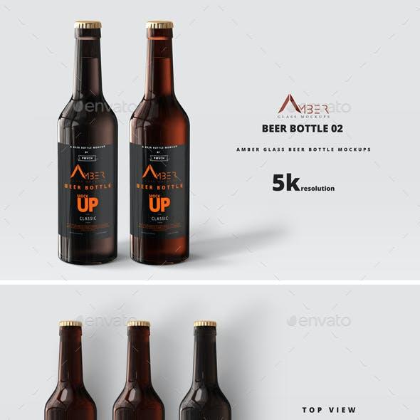 Amber Glass Beer Bottle Mockup 02