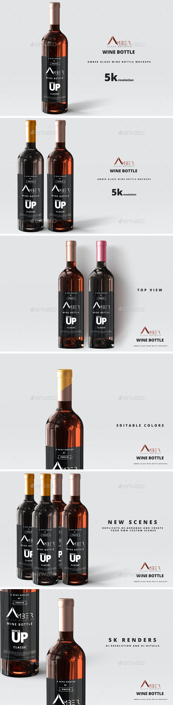 Amber Glass Wine Bottle Mockup - Food and Drink Packaging