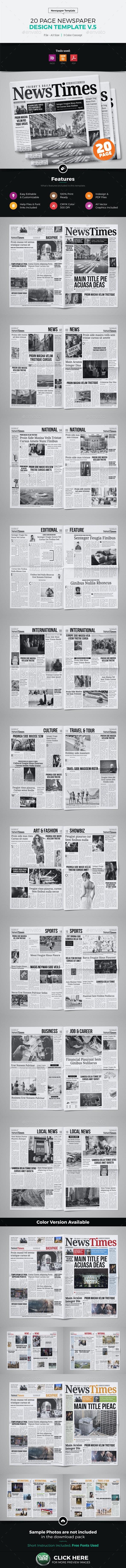 20 Page Newspaper Design v5