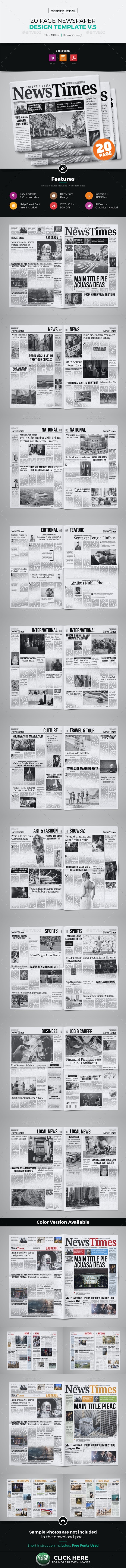 20 Page Newspaper Design v5 - Newsletters Print Templates