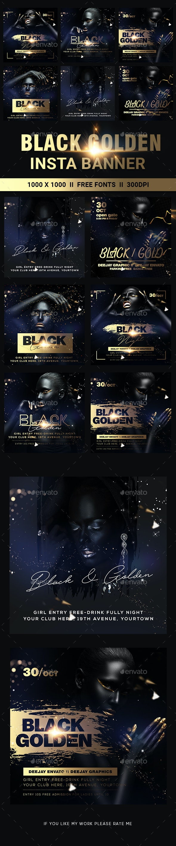Golden Black Party Banners - Banners & Ads Web Elements