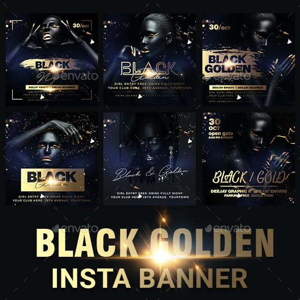 Golden Black Party Banners