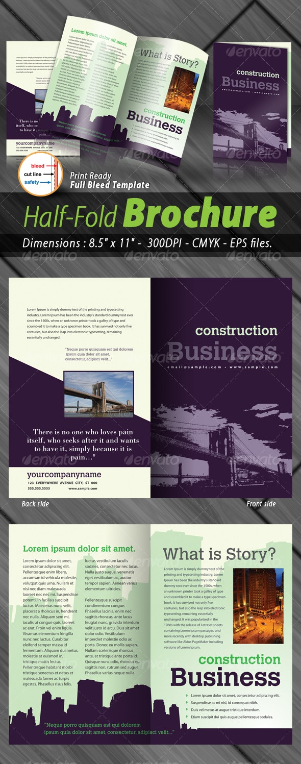 Business Half-Fold Brochure [4 Pages ] Print Ready - Corporate Brochures