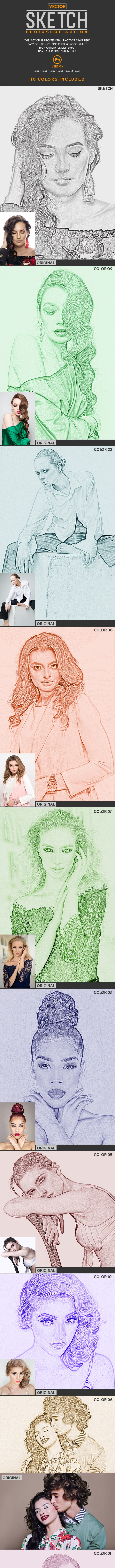 Vector Sketch Photoshop Action - Photo Effects Actions