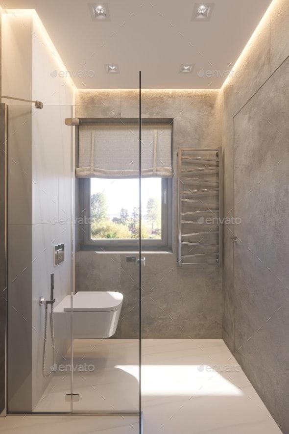 3d Render Interior Design of the Bathroom - Architecture 3D Renders