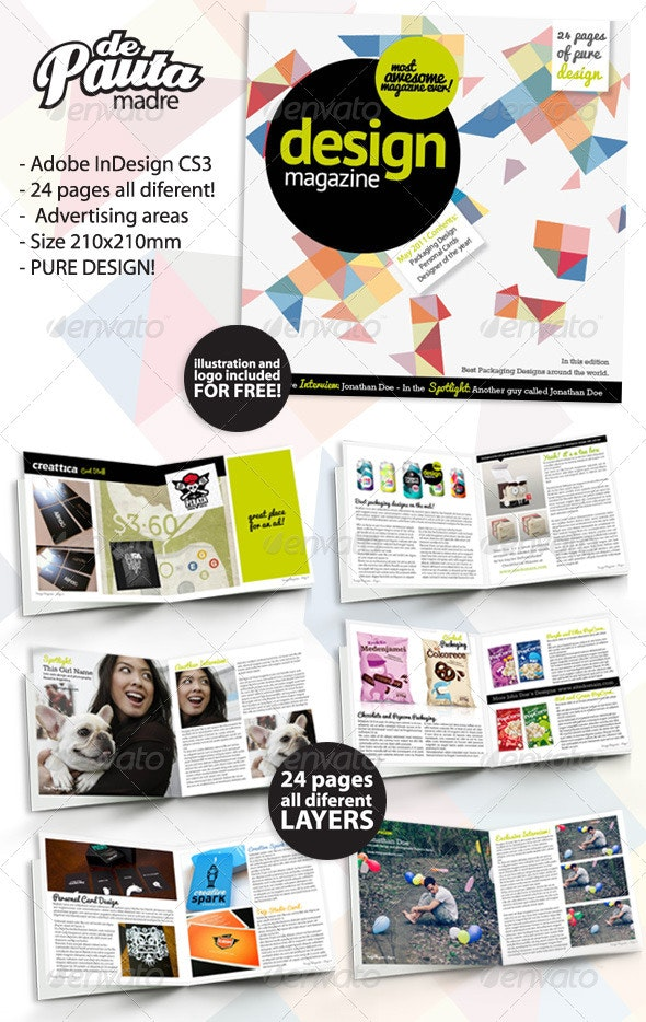Design Magazine InDesign Template - Magazines Print Templates