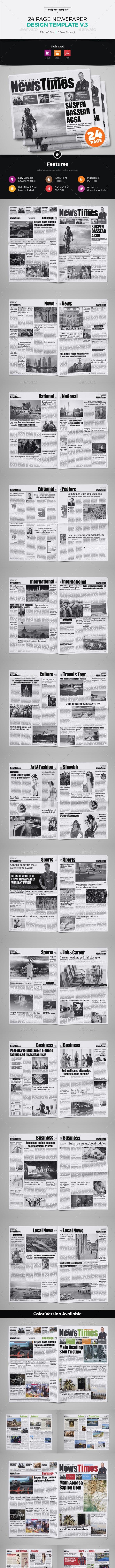 24 Page Newspaper Design v3 - Newsletters Print Templates